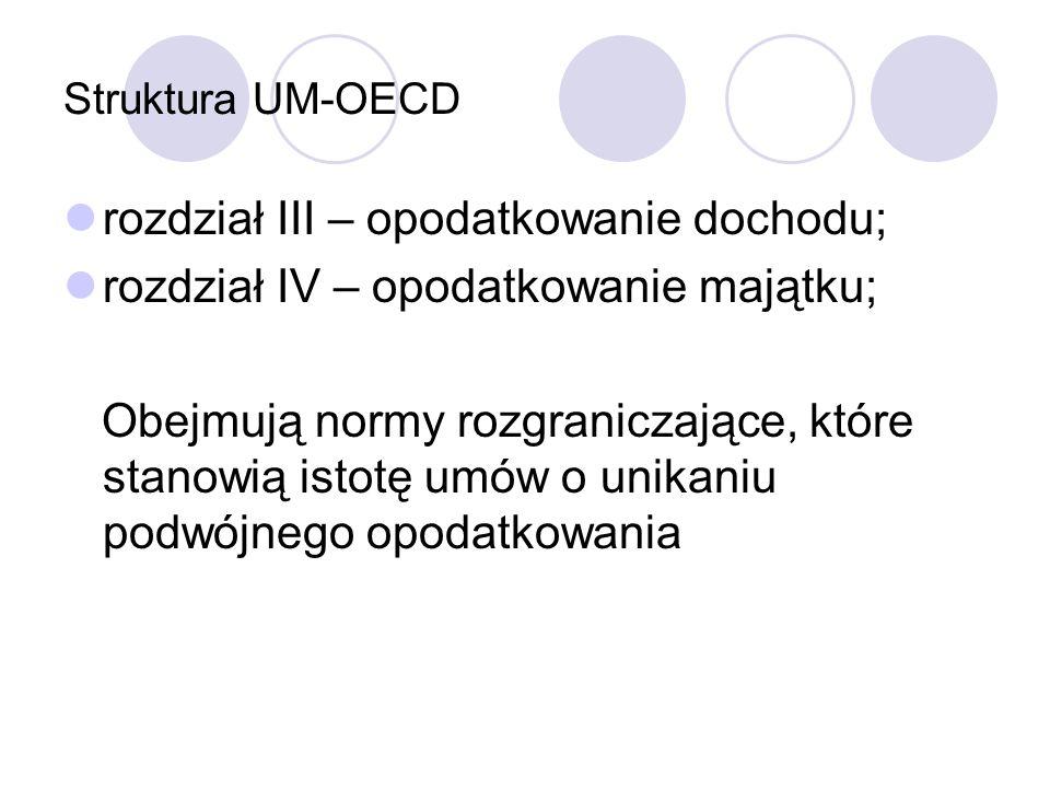 Struktura UM-OECD rozdział III – opodatkowanie dochodu; rozdział IV – opodatkowanie majątku; Obejmują normy rozgraniczające, które stanowią istotę umó
