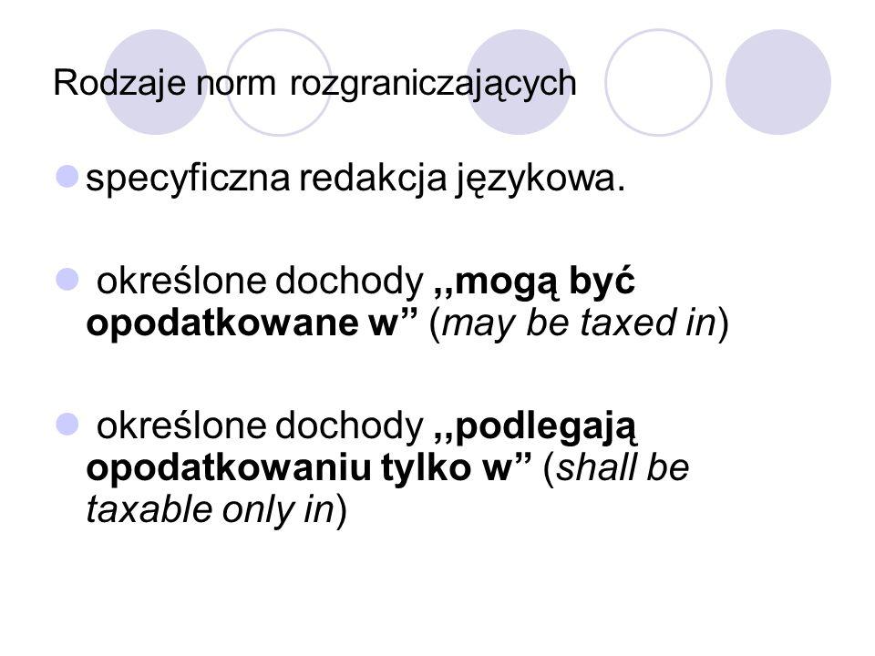 Rodzaje norm rozgraniczających specyficzna redakcja językowa. określone dochody,,mogą być opodatkowane w (may be taxed in) określone dochody,,podlegaj
