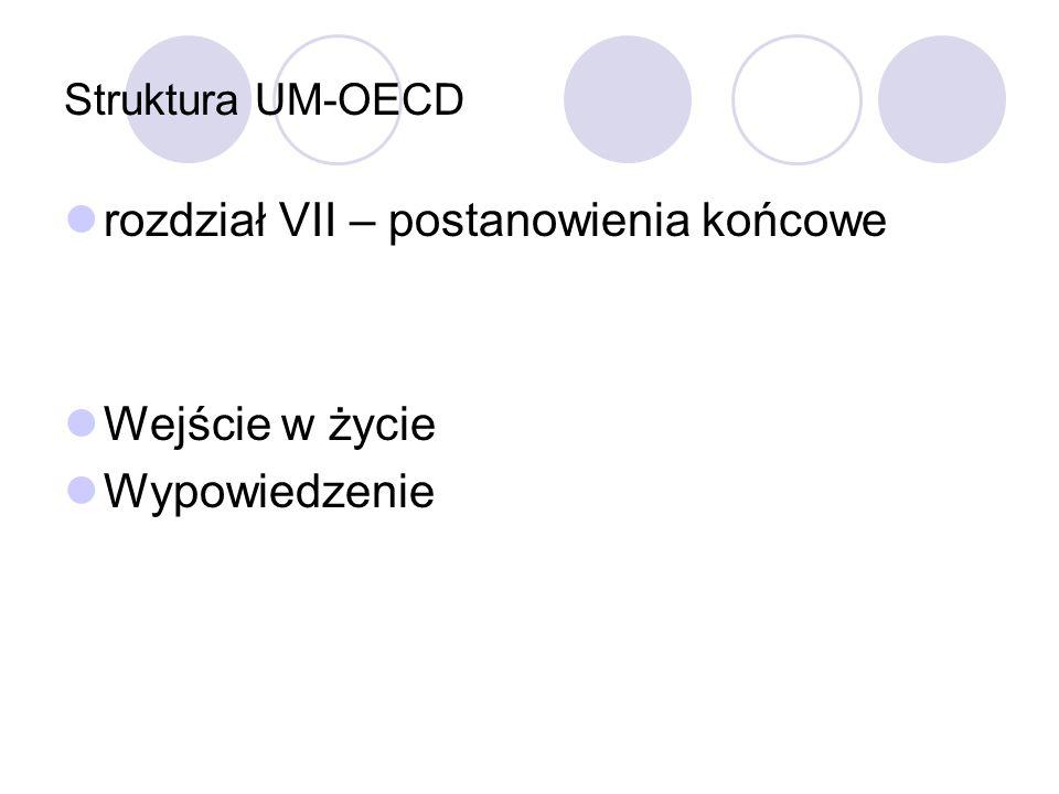 Struktura UM-OECD rozdział VII – postanowienia końcowe Wejście w życie Wypowiedzenie