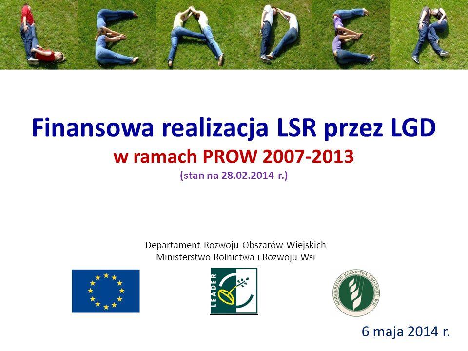 Finansowa realizacja LSR przez LGD w ramach PROW 2007-2013 (stan na 28.02.2014 r.) 6 maja 2014 r.