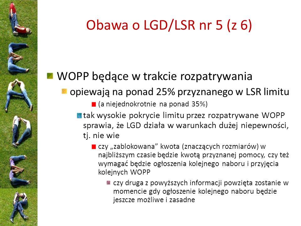 Obawa o LGD/LSR nr 5 (z 6) WOPP będące w trakcie rozpatrywania opiewają na ponad 25% przyznanego w LSR limitu (a niejednokrotnie na ponad 35%) tak wysokie pokrycie limitu przez rozpatrywane WOPP sprawia, że LGD działa w warunkach dużej niepewności, tj.