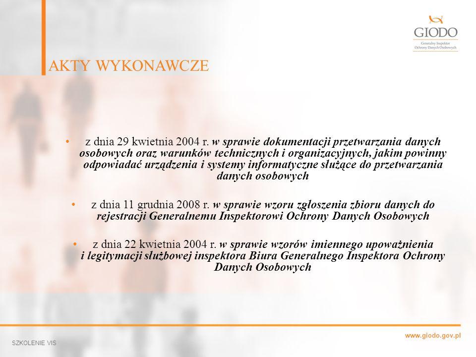 www.giodo.gov.pl z dnia 29 kwietnia 2004 r. w sprawie dokumentacji przetwarzania danych osobowych oraz warunków technicznych i organizacyjnych, jakim
