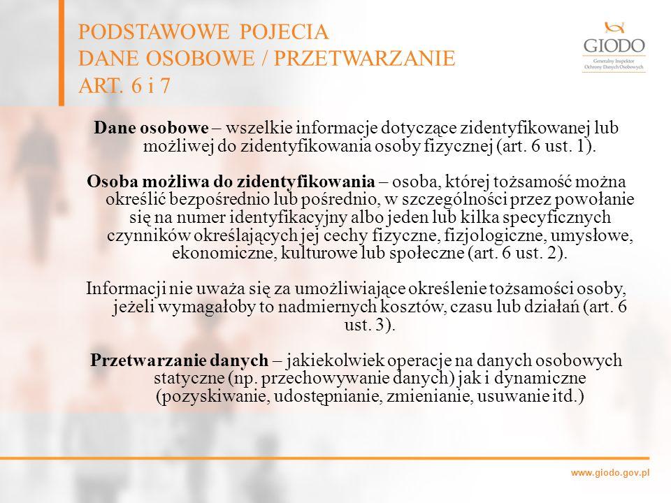 www.giodo.gov.pl Dane osobowe – wszelkie informacje dotyczące zidentyfikowanej lub możliwej do zidentyfikowania osoby fizycznej (art. 6 ust. 1). Osoba