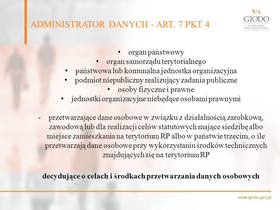 www.giodo.gov.pl organ państwowy organ samorządu terytorialnego państwowa lub komunalna jednostka organizacyjna podmiot niepubliczny realizujący zadan