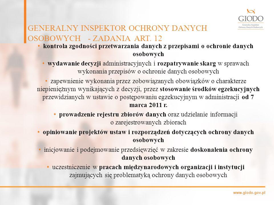 www.giodo.gov.pl kontrola zgodności przetwarzania danych z przepisami o ochronie danych osobowych wydawanie decyzji administracyjnych i rozpatrywanie