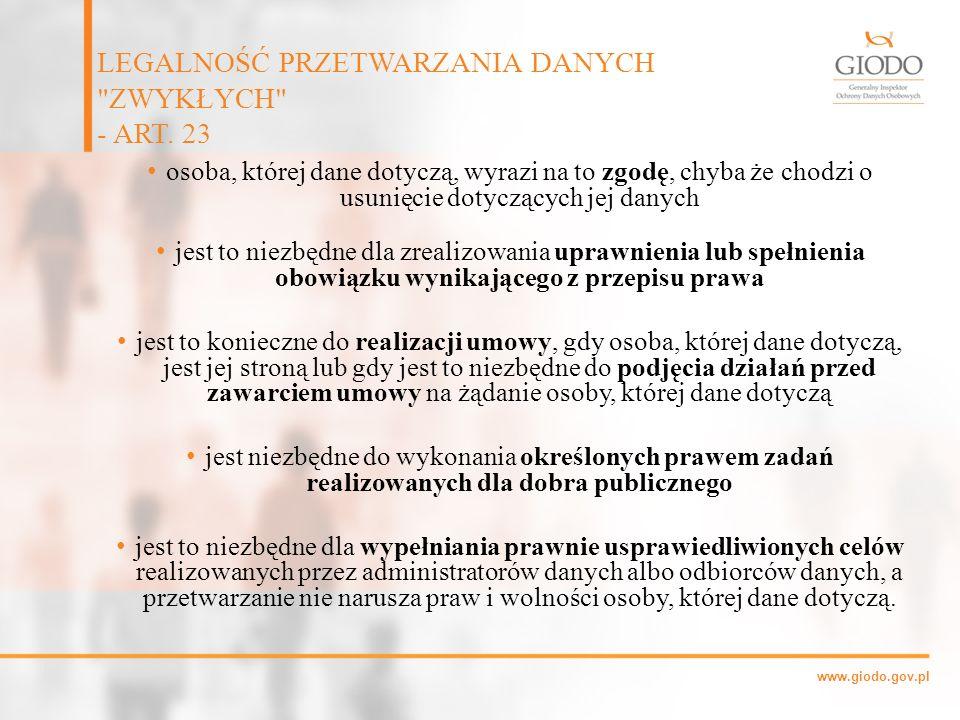 www.giodo.gov.pl osoba, której dane dotyczą, wyrazi na to zgodę, chyba że chodzi o usunięcie dotyczących jej danych jest to niezbędne dla zrealizowani