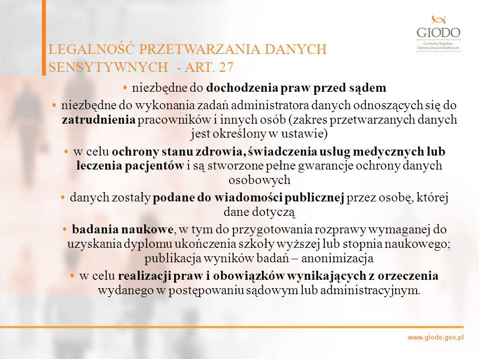 www.giodo.gov.pl niezbędne do dochodzenia praw przed sądem niezbędne do wykonania zadań administratora danych odnoszących się do zatrudnienia pracowni