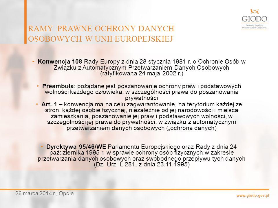 www.giodo.gov.pl Konwencja 108 Rady Europy z dnia 28 stycznia 1981 r. o Ochronie Osób w Związku z Automatycznym Przetwarzaniem Danych Osobowych (ratyf