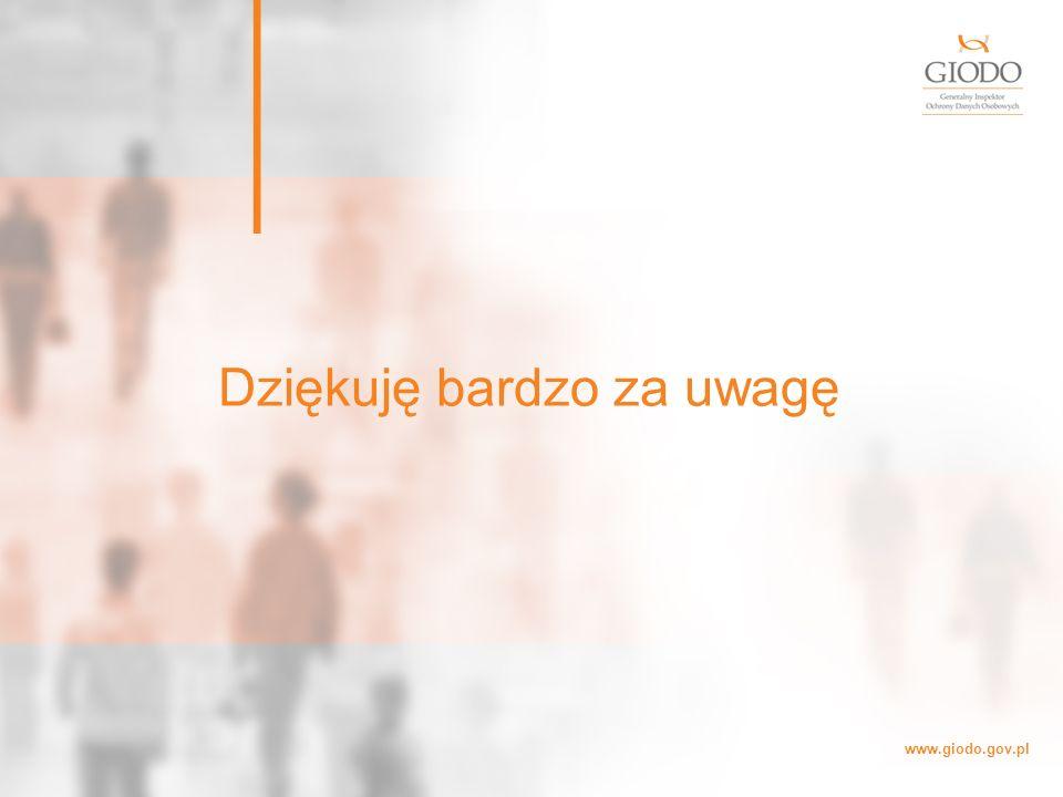 www.giodo.gov.pl Dziękuję bardzo za uwagę