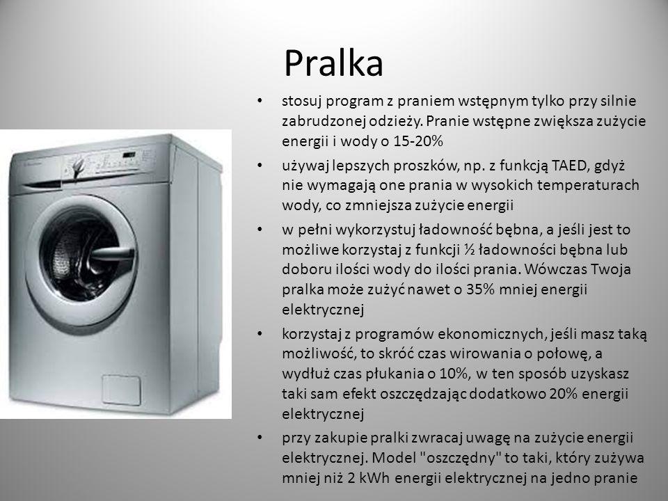 Pralka stosuj program z praniem wstępnym tylko przy silnie zabrudzonej odzieży. Pranie wstępne zwiększa zużycie energii i wody o 15-20% używaj lepszyc
