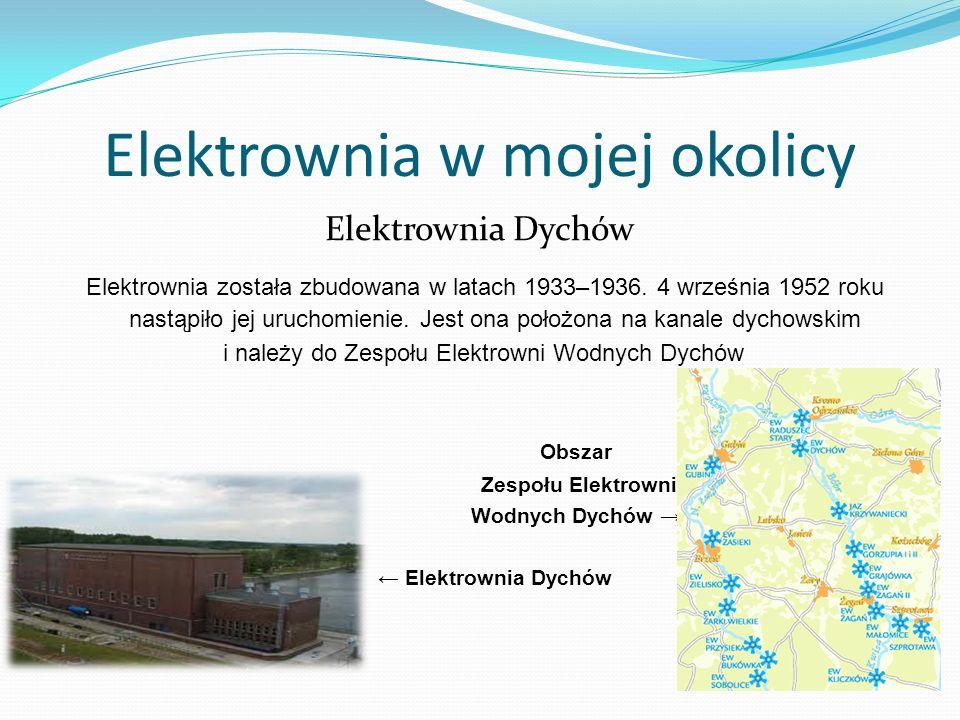 Elektrownia w mojej okolicy Elektrownia Dychów Elektrownia została zbudowana w latach 1933–1936. 4 września 1952 roku nastąpiło jej uruchomienie. Jest