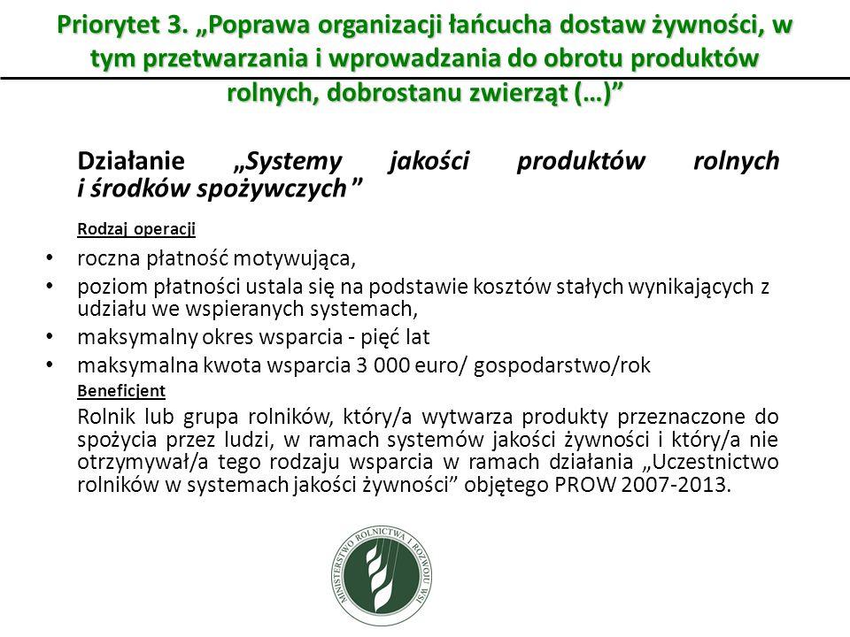 Priorytet 3. Poprawa organizacji łańcucha dostaw żywności, w tym przetwarzania i wprowadzania do obrotu produktów rolnych, dobrostanu zwierząt (…) Dzi