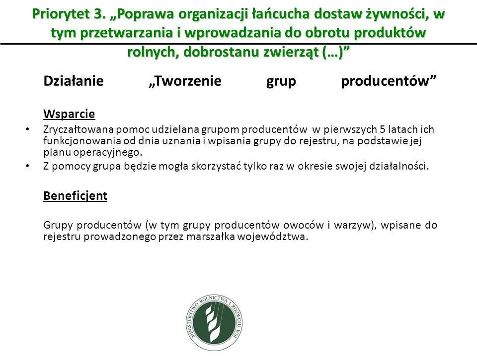 Działanie Tworzenie grup producentów Wsparcie Zryczałtowana pomoc udzielana grupom producentów w pierwszych 5 latach ich funkcjonowania od dnia uznani