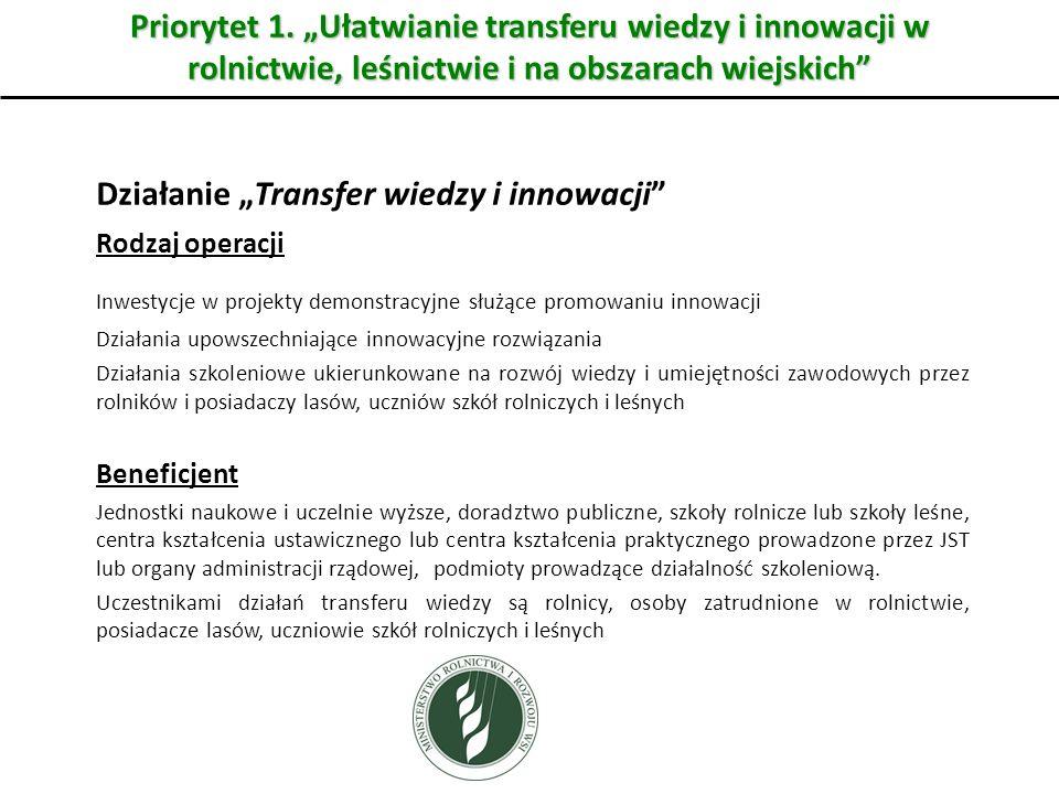 Priorytet 1. Ułatwianie transferu wiedzy i innowacji w rolnictwie, leśnictwie i na obszarach wiejskich Działanie Transfer wiedzy i innowacji Rodzaj op