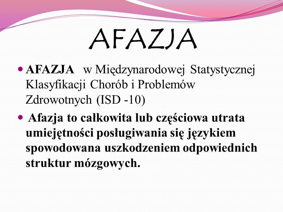 AFAZJA AFAZJA w Międzynarodowej Statystycznej Klasyfikacji Chorób i Problemów Zdrowotnych (ISD -10) Afazja to całkowita lub częściowa utrata umiejętno