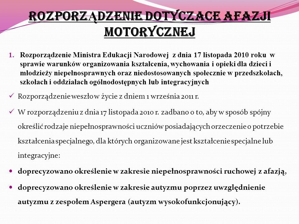ROZPORZ Ą DZENIe dOtyczace afazji motorycznej 1. Rozporządzenie Ministra Edukacji Narodowej z dnia 17 listopada 2010 roku w sprawie warunków organizow
