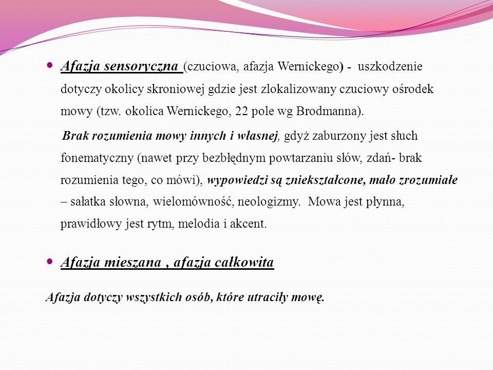Afazja sensoryczna (czuciowa, afazja Wernickego) - uszkodzenie dotyczy okolicy skroniowej gdzie jest zlokalizowany czuciowy ośrodek mowy (tzw. okolica