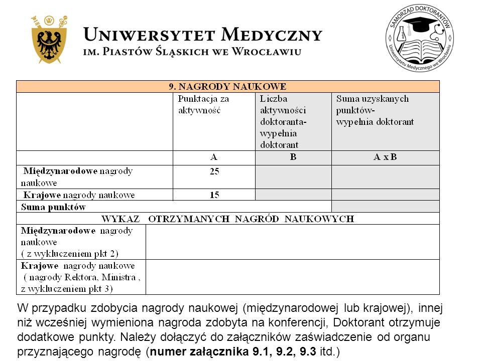 W przypadku zdobycia nagrody naukowej (międzynarodowej lub krajowej), innej niż wcześniej wymieniona nagroda zdobyta na konferencji, Doktorant otrzymuje dodatkowe punkty.