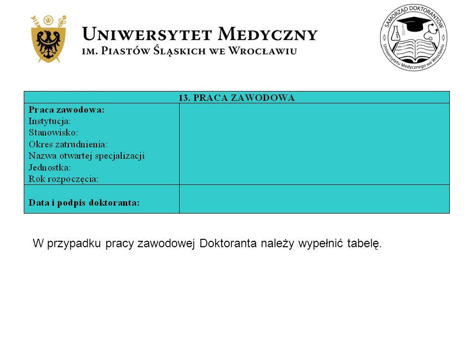 W przypadku pracy zawodowej Doktoranta należy wypełnić tabelę.