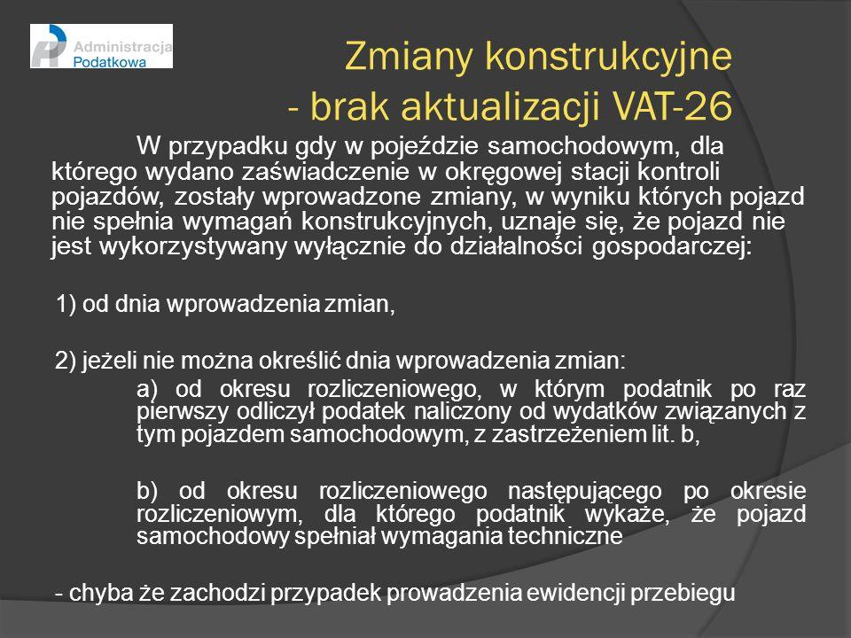 Zmiany konstrukcyjne - brak aktualizacji VAT-26 W przypadku gdy w pojeździe samochodowym, dla którego wydano zaświadczenie w okręgowej stacji kontroli