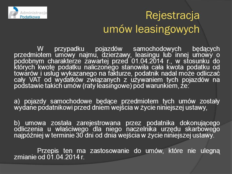 Rejestracja umów leasingowych W przypadku pojazdów samochodowych będących przedmiotem umowy najmu, dzierżawy, leasingu lub innej umowy o podobnym char