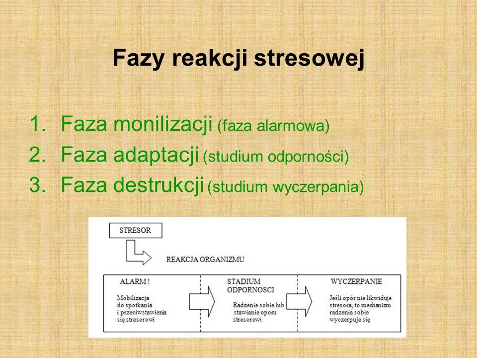 Fazy reakcji stresowej 1.Faza monilizacji (faza alarmowa) 2.Faza adaptacji (studium odporności) 3.Faza destrukcji (studium wyczerpania)