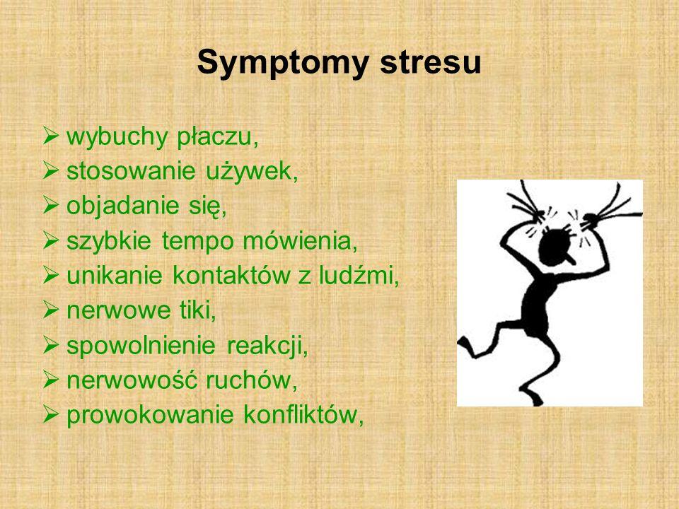 Symptomy stresu wybuchy płaczu, stosowanie używek, objadanie się, szybkie tempo mówienia, unikanie kontaktów z ludźmi, nerwowe tiki, spowolnienie reak