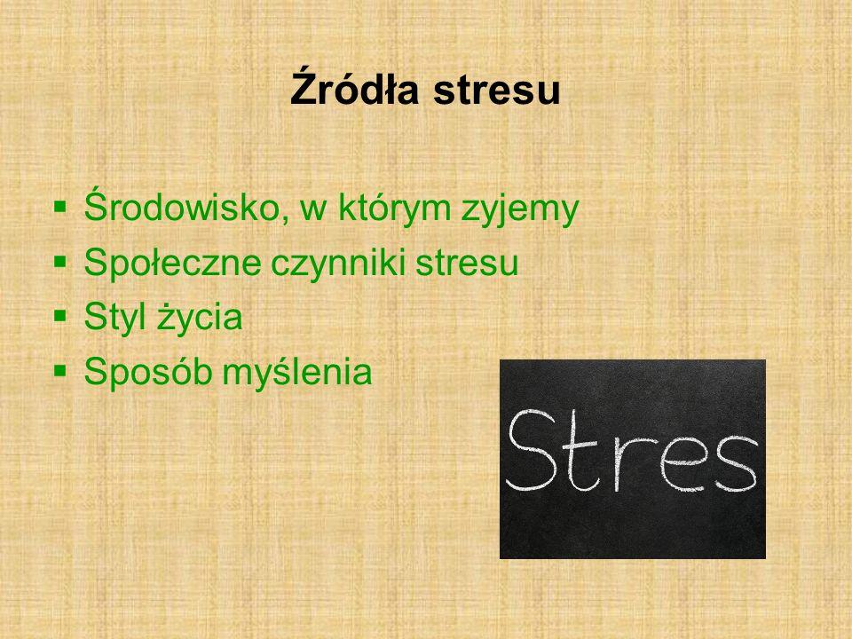 Źródła stresu Środowisko, w którym zyjemy Społeczne czynniki stresu Styl życia Sposób myślenia