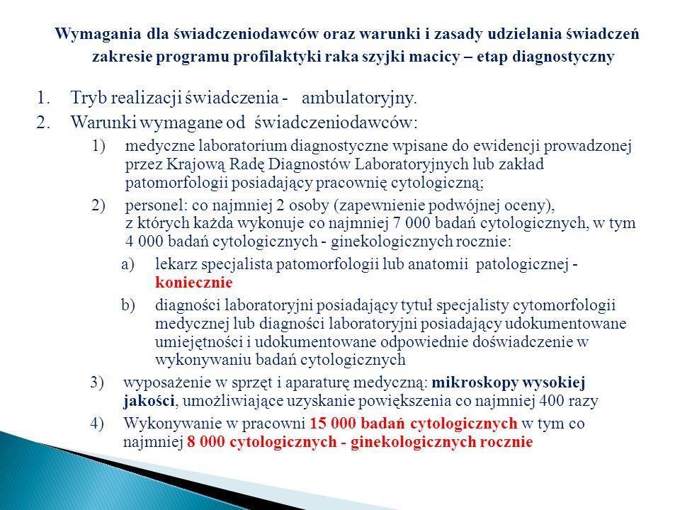 Wymagania dla świadczeniodawców oraz warunki i zasady udzielania świadczeń zakresie programu profilaktyki raka szyjki macicy – etap diagnostyczny 1.Tr