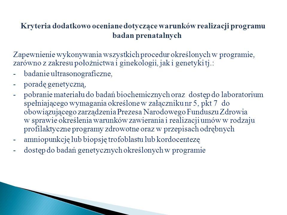 Kryteria dodatkowo oceniane dotyczące warunków realizacji programu badan prenatalnych Zapewnienie wykonywania wszystkich procedur określonych w progra