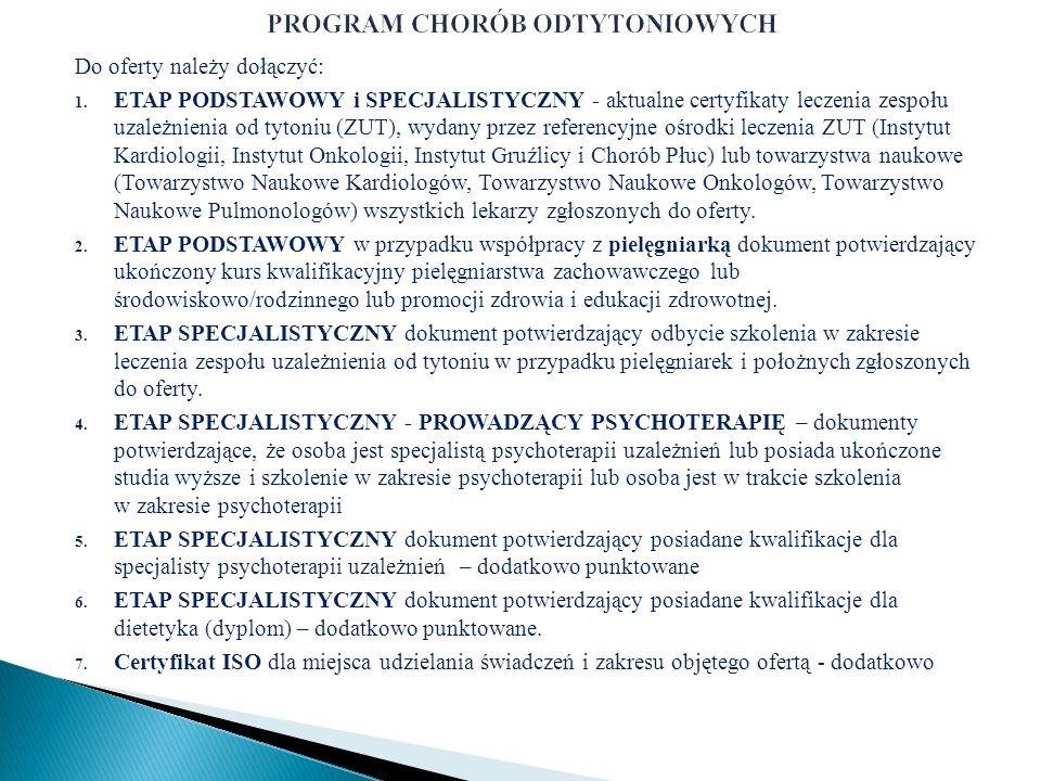 Do oferty należy dołączyć: 1. ETAP PODSTAWOWY i SPECJALISTYCZNY - aktualne certyfikaty leczenia zespołu uzależnienia od tytoniu (ZUT), wydany przez re