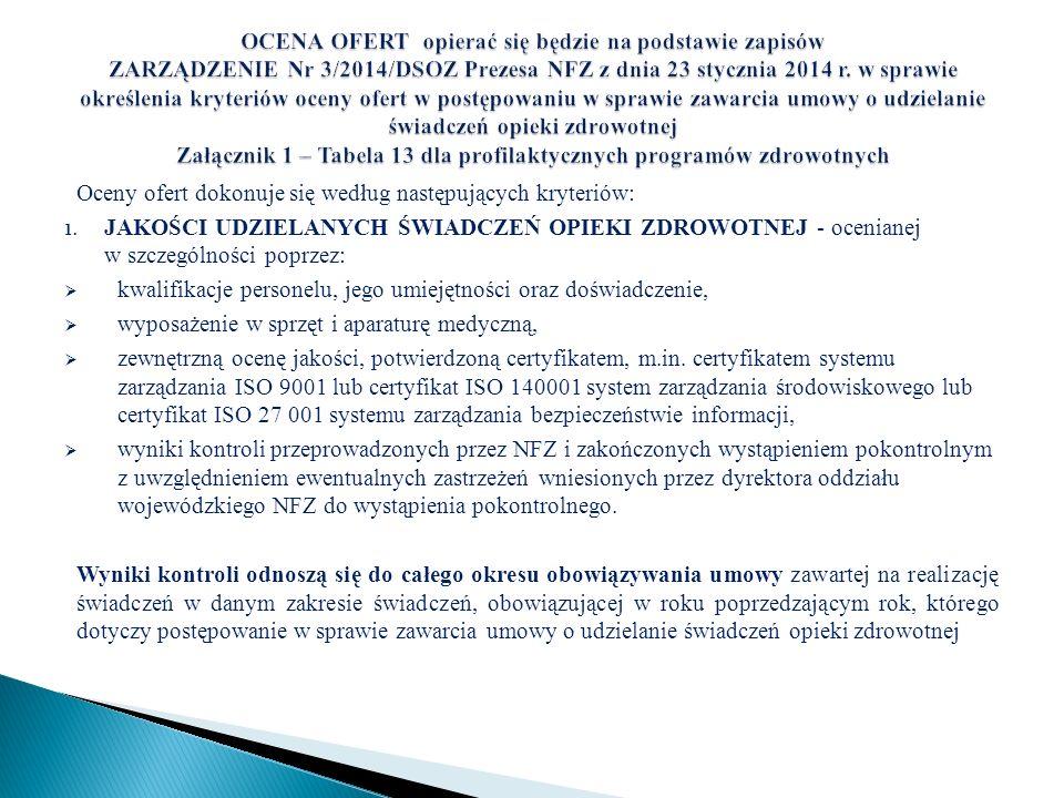 Oceny ofert dokonuje się według następujących kryteriów: 1. JAKOŚCI UDZIELANYCH ŚWIADCZEŃ OPIEKI ZDROWOTNEJ - ocenianej w szczególności poprzez: kwali