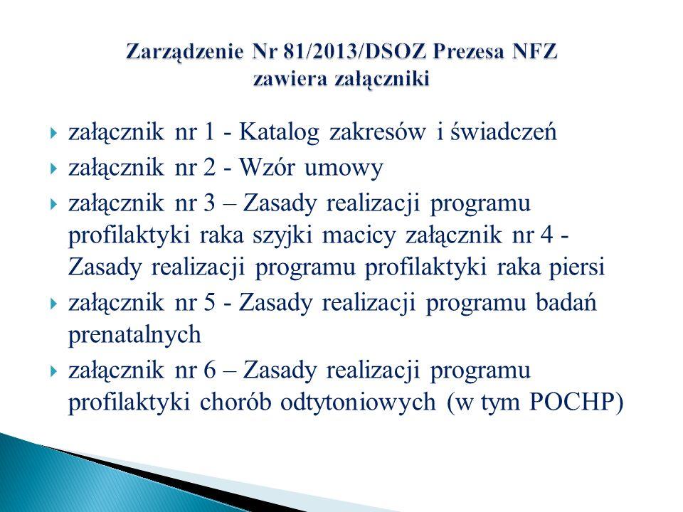 załącznik nr 1 - Katalog zakresów i świadczeń załącznik nr 2 - Wzór umowy załącznik nr 3 – Zasady realizacji programu profilaktyki raka szyjki macicy