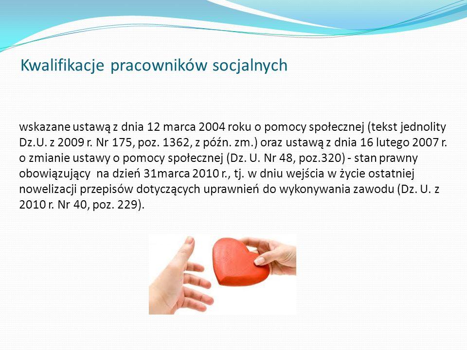 wskazane ustawą z dnia 12 marca 2004 roku o pomocy społecznej (tekst jednolity Dz.U. z 2009 r. Nr 175, poz. 1362, z późn. zm.) oraz ustawą z dnia 16 l