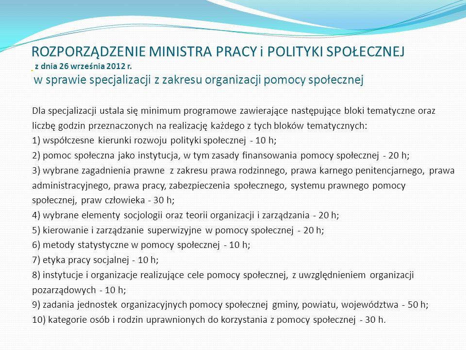 ROZPORZĄDZENIE MINISTRA PRACY i POLITYKI SPOŁECZNEJ z dnia 26 września 2012 r. w sprawie specjalizacji z zakresu organizacji pomocy społecznej Dla spe