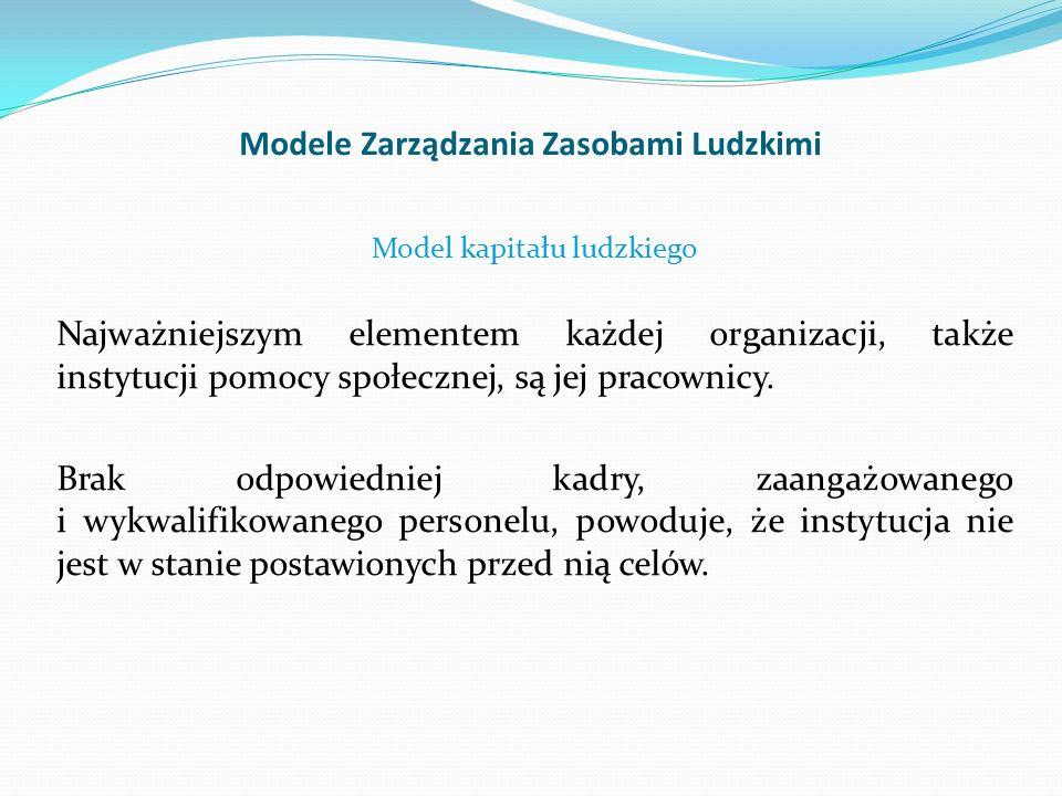 Modele Zarządzania Zasobami Ludzkimi Model kapitału ludzkiego Najważniejszym elementem każdej organizacji, także instytucji pomocy społecznej, są jej