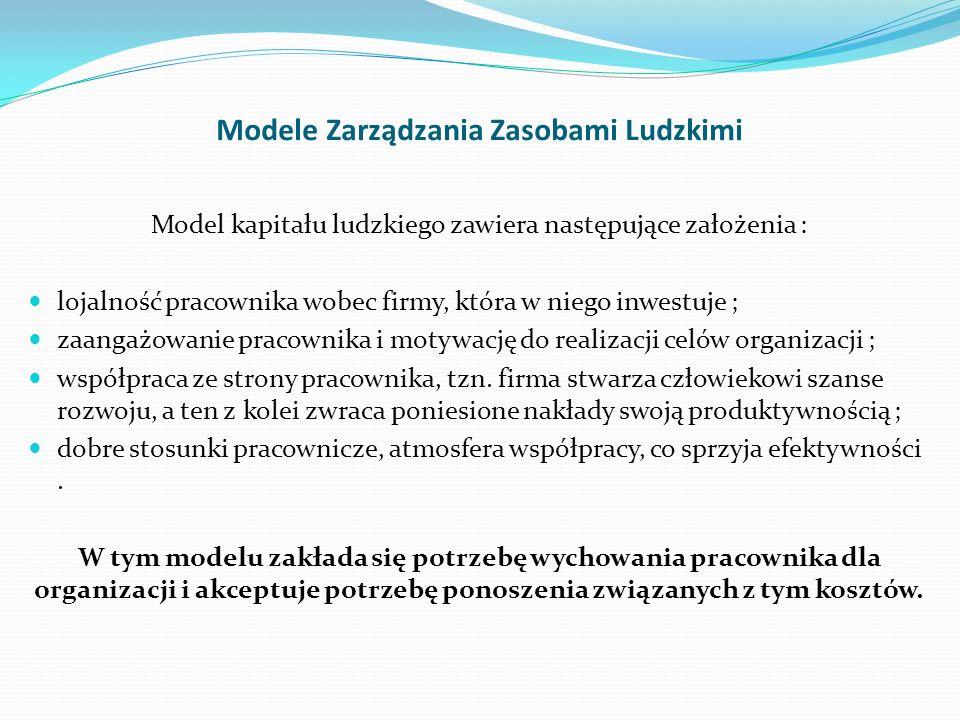 Modele Zarządzania Zasobami Ludzkimi Model kapitału ludzkiego zawiera następujące założenia : lojalność pracownika wobec firmy, która w niego inwestuj
