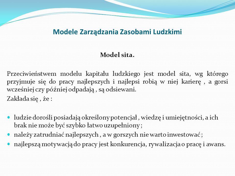 Modele Zarządzania Zasobami Ludzkimi Model sita. Przeciwieństwem modelu kapitału ludzkiego jest model sita, wg którego przyjmuje się do pracy najlepsz