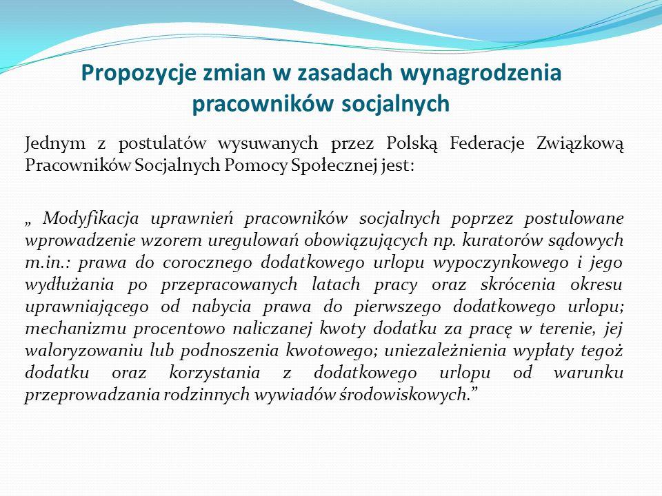 Propozycje zmian w zasadach wynagrodzenia pracowników socjalnych Jednym z postulatów wysuwanych przez Polską Federacje Związkową Pracowników Socjalnyc