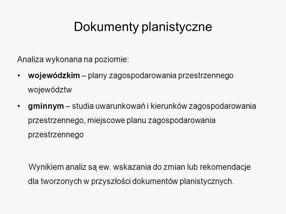 Dokumenty planistyczne Analiza wykonana na poziomie: wojewódzkim – plany zagospodarowania przestrzennego województw gminnym – studia uwarunkowań i kierunków zagospodarowania przestrzennego, miejscowe planu zagospodarowania przestrzennego Wynikiem analiz są ew.