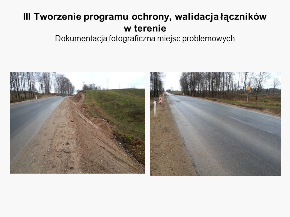 III Tworzenie programu ochrony, walidacja łączników w terenie Dokumentacja fotograficzna miejsc problemowych