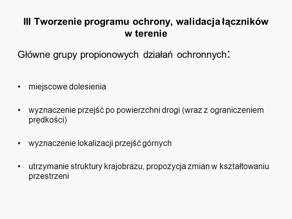 III Tworzenie programu ochrony, walidacja łączników w terenie Główne grupy propionowych działań ochronnych : miejscowe dolesienia wyznaczenie przejść