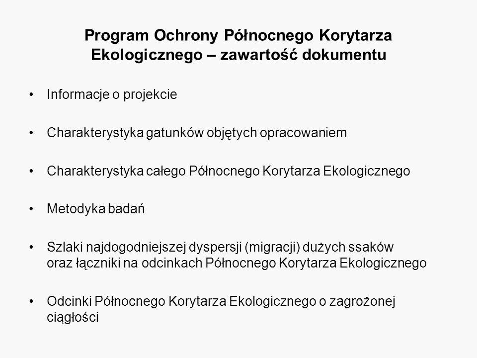 Program Ochrony Północnego Korytarza Ekologicznego – zawartość dokumentu Informacje o projekcie Charakterystyka gatunków objętych opracowaniem Charakterystyka całego Północnego Korytarza Ekologicznego Metodyka badań Szlaki najdogodniejszej dyspersji (migracji) dużych ssaków oraz łączniki na odcinkach Północnego Korytarza Ekologicznego Odcinki Północnego Korytarza Ekologicznego o zagrożonej ciągłości