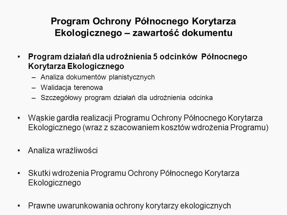 Program Ochrony Północnego Korytarza Ekologicznego – zawartość dokumentu Program działań dla udrożnienia 5 odcinków Północnego Korytarza Ekologicznego –Analiza dokumentów planistycznych –Walidacja terenowa –Szczegółowy program działań dla udrożnienia odcinka Wąskie gardła realizacji Programu Ochrony Północnego Korytarza Ekologicznego (wraz z szacowaniem kosztów wdrożenia Programu) Analiza wrażliwości Skutki wdrożenia Programu Ochrony Północnego Korytarza Ekologicznego Prawne uwarunkowania ochrony korytarzy ekologicznych