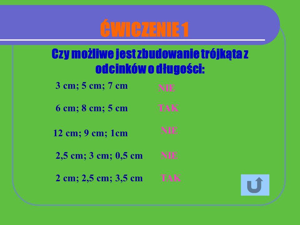 3 cm; 5 cm; 7 cm NIE 6 cm; 8 cm; 5 cm TAK 12 cm; 9 cm; 1cm NIE 2,5 cm; 3 cm; 0,5 cm NIE 2 cm; 2,5 cm; 3,5 cm TAK Czy możliwe jest zbudowanie trójkąta
