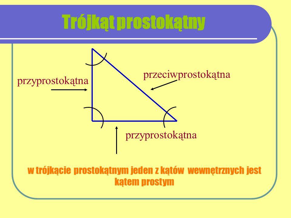przeciwprostokątna przyprostokątna przyprostokątna w trójkącie prostokątnym jeden z kątów wewnętrznych jest kątem prostym Trójkąt prostokątny