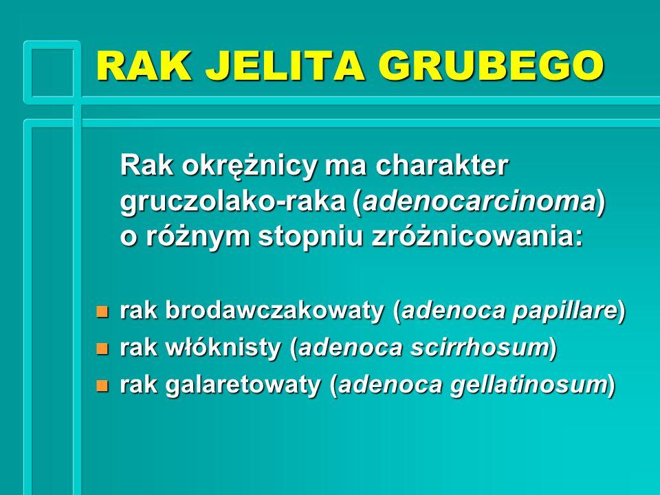 RAK JELITA GRUBEGO Rak okrężnicy ma charakter gruczolako-raka (adenocarcinoma) o różnym stopniu zróżnicowania: n rak brodawczakowaty (adenoca papillar