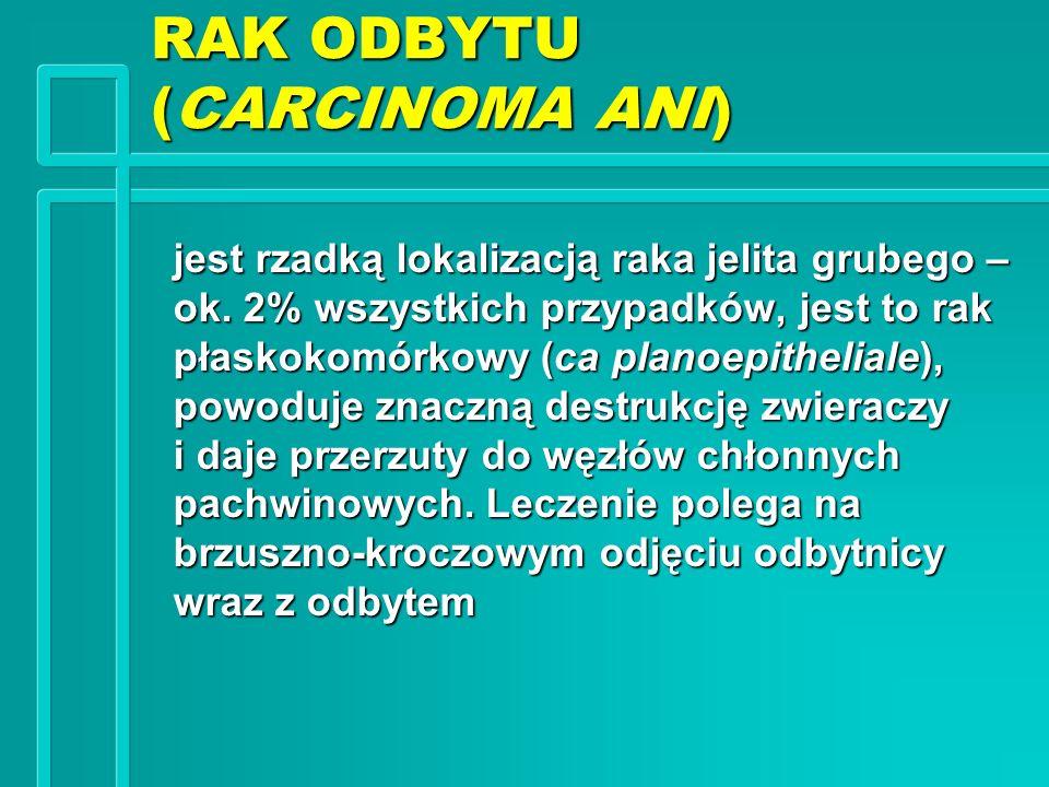 RAK ODBYTU (CARCINOMA ANI) jest rzadką lokalizacją raka jelita grubego – ok. 2% wszystkich przypadków, jest to rak płaskokomórkowy (ca planoepithelial