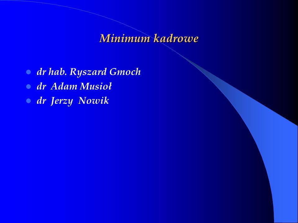 Minimum kadrowe dr hab. Ryszard Gmoch dr Adam Musioł dr Jerzy Nowik
