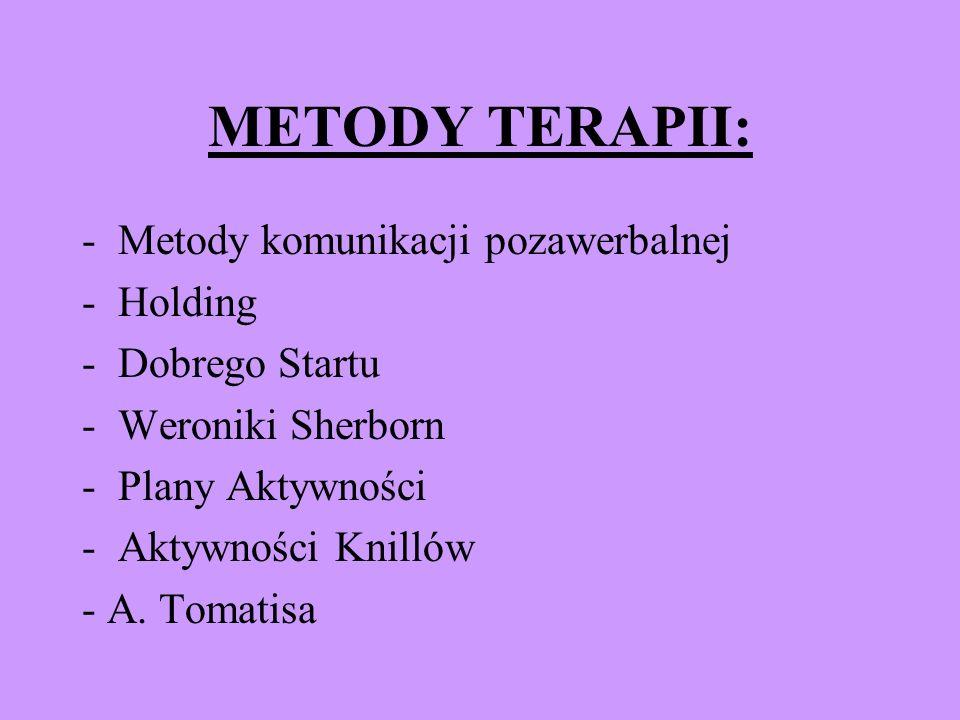 METODY TERAPII: -Metody komunikacji pozawerbalnej -Holding -Dobrego Startu -Weroniki Sherborn -Plany Aktywności -Aktywności Knillów - A. Tomatisa